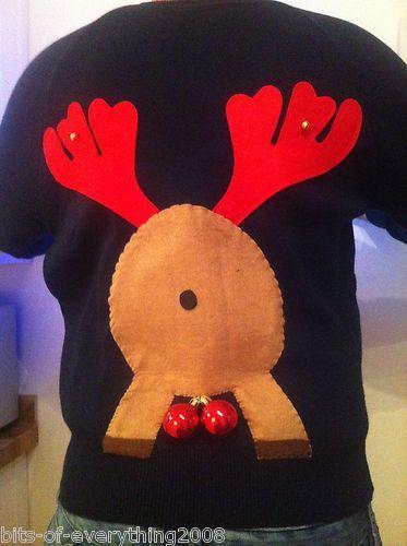 MENS NOVELTY LIGHT UP RUDE 'RANDY' REINDEER CHRISTMAS JUMPER XMAS LARGE RUDOLPH | eBay