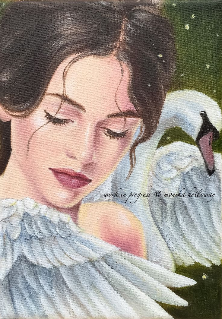 "Swan Song - oil on canvas, 5""x7"" Copyright Monika Holloway"