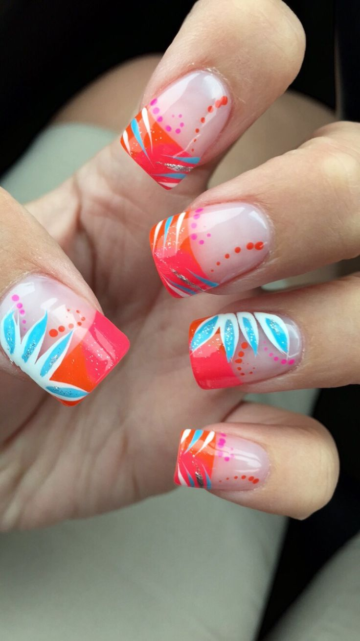 Pink and orange French tip nails! Summertime, bright, flowers, glitter