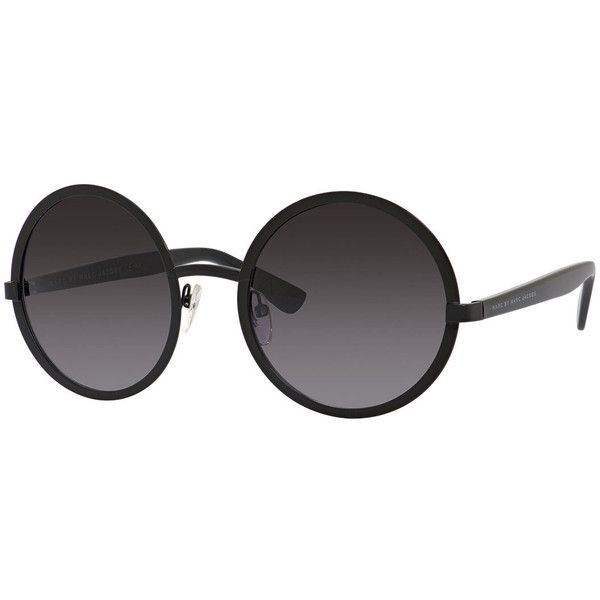 MARC by Marc Jacobs Round Acetate Sunglasses (360 BRL) ❤ liked on Polyvore featuring accessories, eyewear, sunglasses, black, round frame glasses, round acetate sunglasses, round glasses, round sunnies and rounded glasses