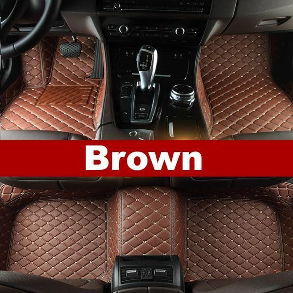 Luxury Diamond Stitched Floor Mats Brown Mazda Full Set Car Floor Mats Custom Car Floor Mats Volkswagen Touareg