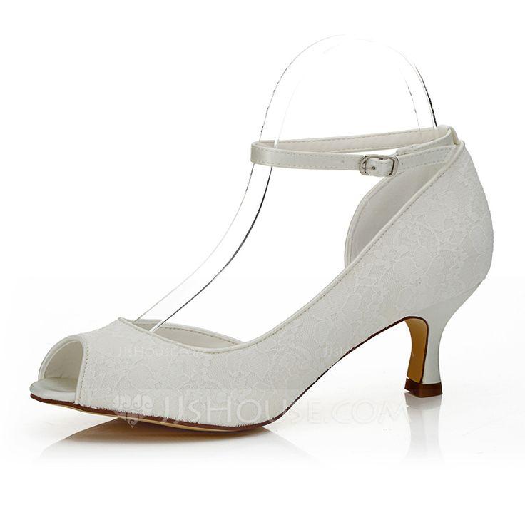 Kvinder Kigge Tå sandaler Ske Hæl Blonder Satin Bryllupssko