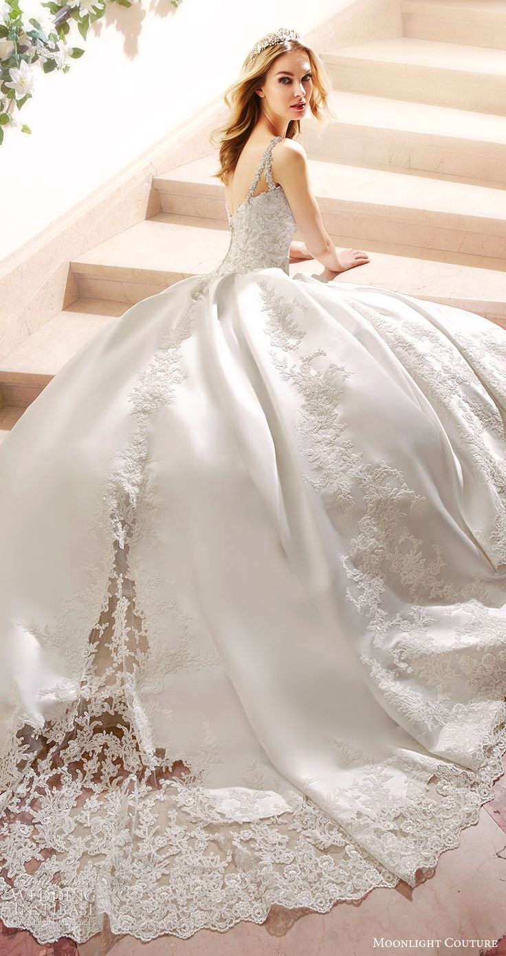 moonlight couture bridal fall 2016 sleeveless beaded straps sweetheart lace ball gown wedding dress (h1316) zbv princess train