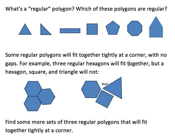 Polygons Motivating Measure Of 1 Interior Angle... Which Polygons Can Fit  Together? | Geometry | Pinterest | Best Maths Ideas