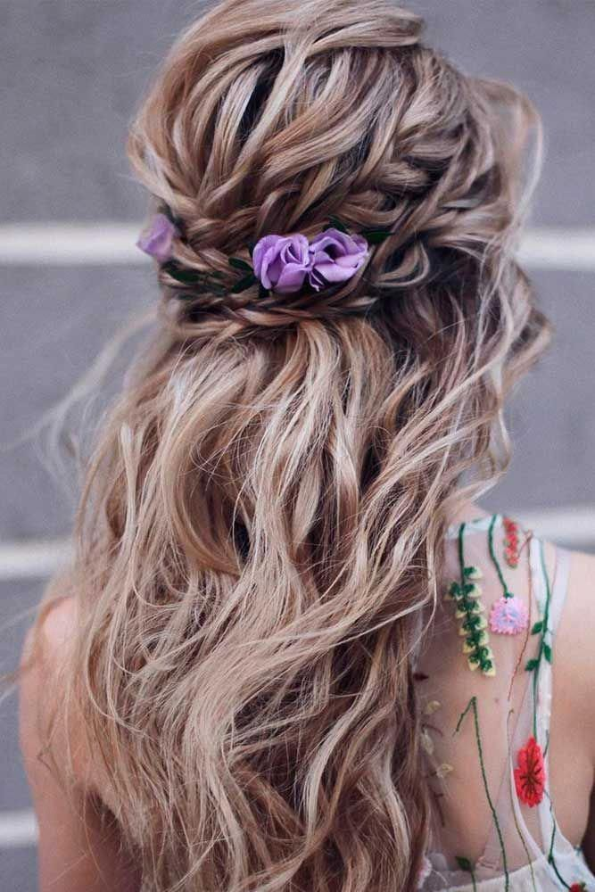 Braided Half-Up With Flowers #braidedhair #wavyhair Discover trendy easy summer hairstyles 2019 here. We have pretty ideas for long short and for medi