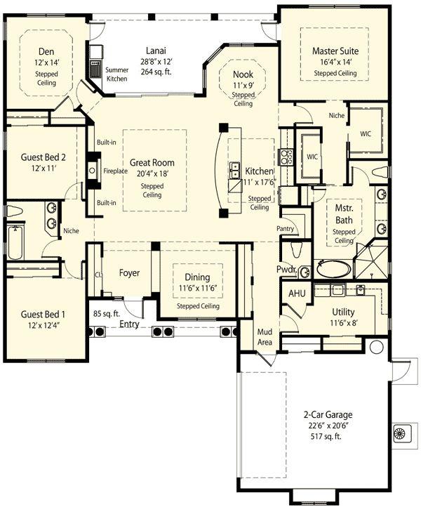 ♡1. Planos de casa ecológica de un solo nivel, tres dormitorios, dos baños, con un garaje