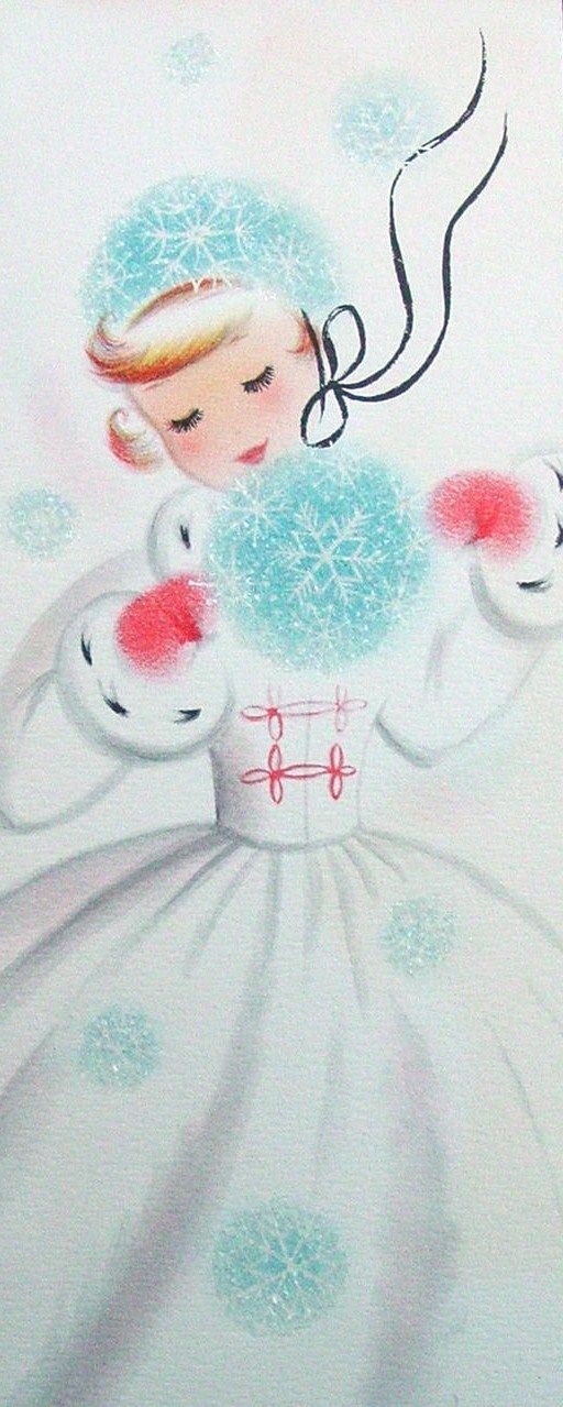 "Vintage Christmas Card-Reminds me of a song my mom used to sing to us as kids. ""Here comes Susie Snowflake, dressed in her snow white gown. Tap-tap-tapping on your window pane, to tell you she's in town...."""