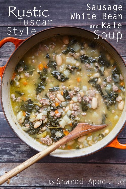 Healthy sausage, white bean, and kale soup. A simple recipe that is great for dinner or any meal.