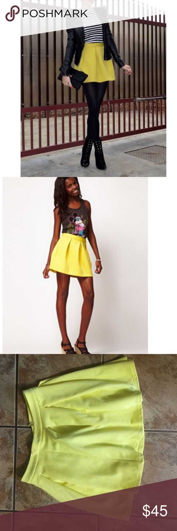 NWT Asos Yellow Skater Skirt New with tags asos yellow ribbed skater skirt ASOS Skirts Circle & Skater