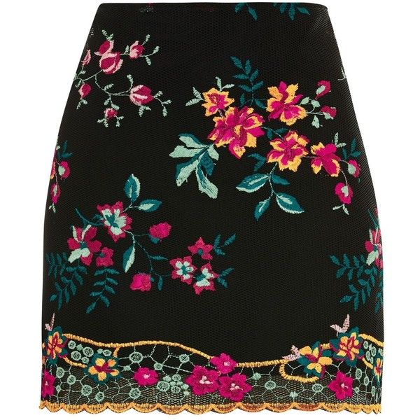 TopShop Floral Embroidered Skirt ($95) ❤ liked on Polyvore featuring skirts, black, topshop skirts and embroidered skirt