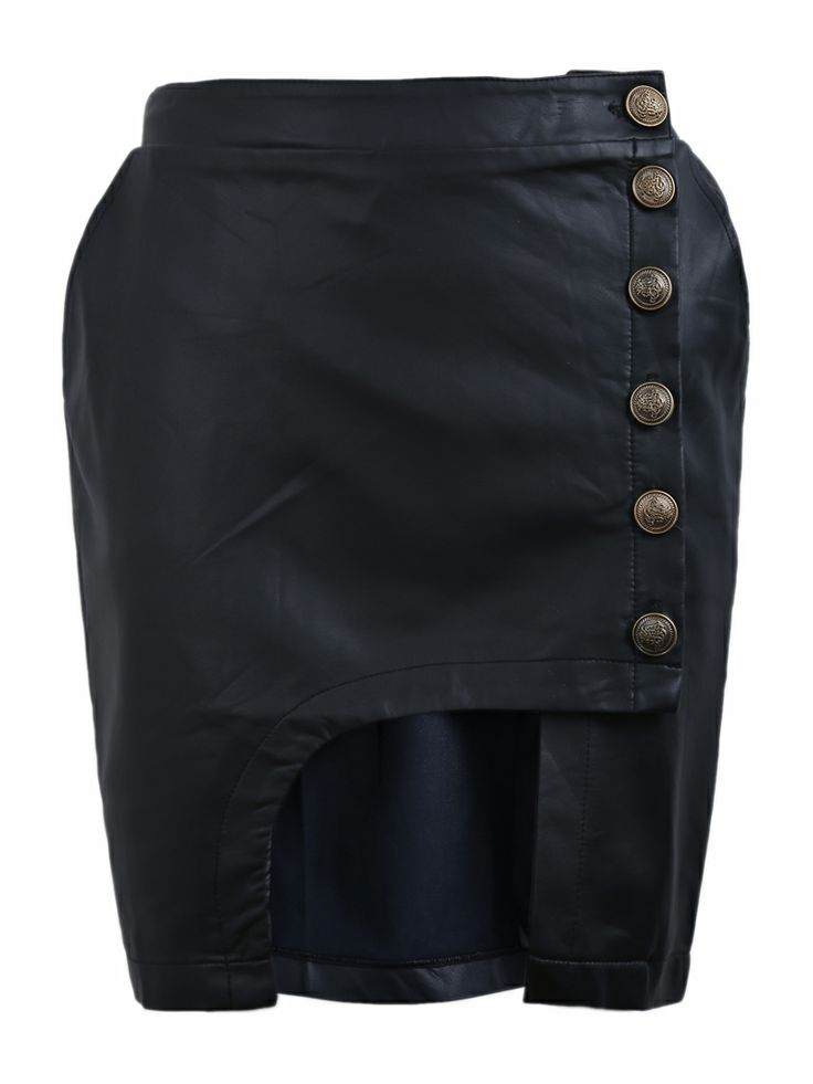 Black Cut Out Front Side Buttons PU Leather Skirt US$29.51