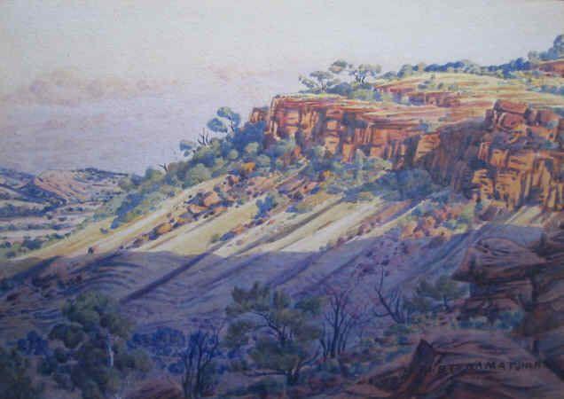 Albert Namatjira - Shadow on the James Range 1951