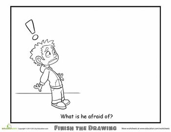 Worksheets: Finish the Drawing: What is he Afraid Of?
