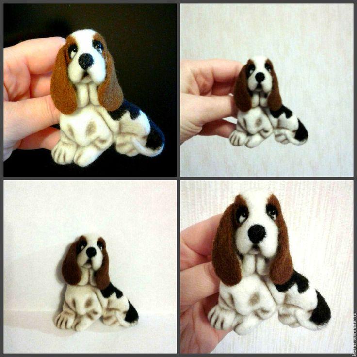 Купить Валяная брошь. Собака породы Бассет хаунд - брошь ручной работы, брошь из шерсти