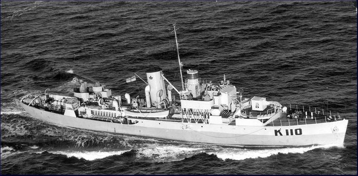 Royal Canadian Navy - HMCS SHEDIAC (K 110) Was a (205') Flower Class Corvette - Commissioned: 8 July 1941 – Compliment: 85 Officers and Enlisted – Armament: 1 x 4 Inch (102mm) Mk.IX Gun (Single Mount) 2 x .50 cal Machine Gun (Twin) 2 x .303 cal Lewis Machine Gun (Twin) 2 x Mk.II Depth Charge Throwers and 2 x Depth Charge Rails (40 Depth Chargers) Originally Filtted with Minesweeping Gear (Later Removed) Decommissioned: 28 August 1945 – Sold for Civilian Use. 1954 – Scrapped 1966