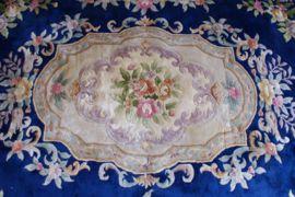 Super groot Chinees kleed. Vintage Oosters tapijt met o.a. bloemen. 215 x 333!
