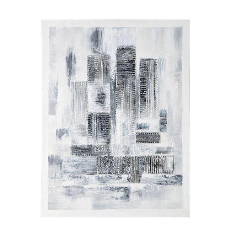 Maison du monde Toile peinte à la main blanche et argentée 90 x 120 cm BUSINESS CENTER 89,99 €