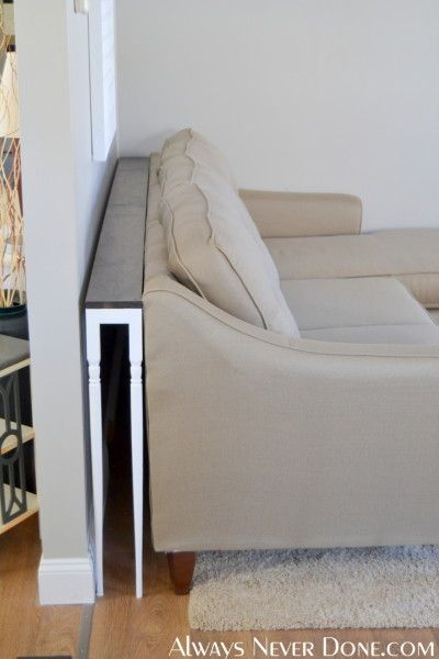 Sofa table...good idea. Make it slightly wider and put shelves down the side that's open to the room?