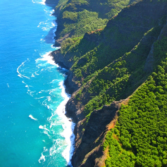 The Napali Coast in Kauai.  This is 17 miles of gorgeous coastline, accessible only by foot, air or boat!