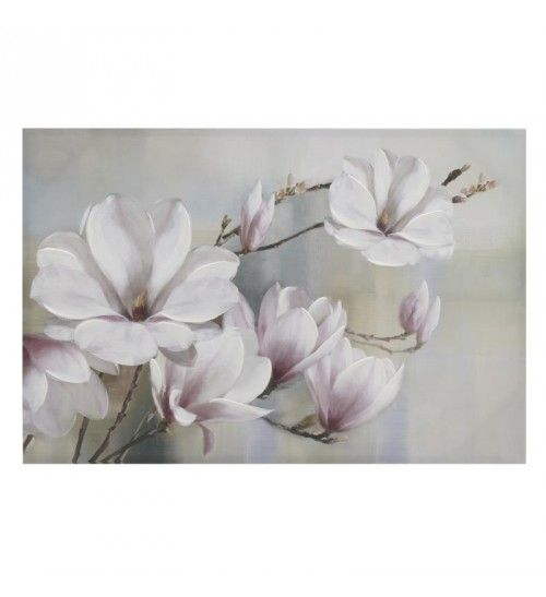 OIL WALL PAINTING CANVAS 'WHITE FLOWERS' 91X4X61