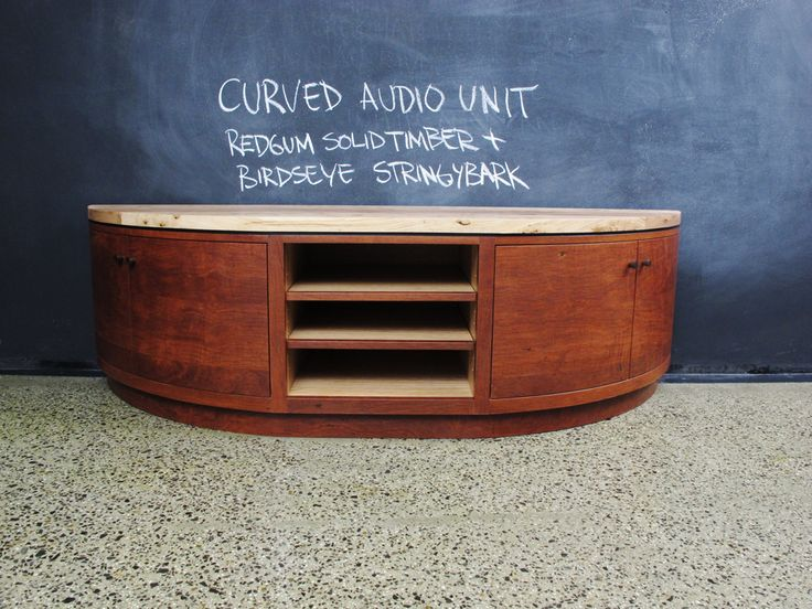 Curved Red Gum and Yellow Stringybark Audiovisual Unit.