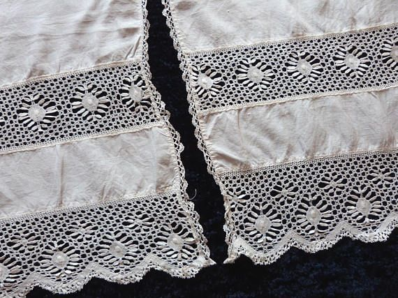 Pair antique French lace curtains drape panels, handmade crocheted lace w needle lace window curtains, lace window blinds French home decor... Be Inspired! #homedecor #decorhome #handmadedecor #HandmadeHomeDecor