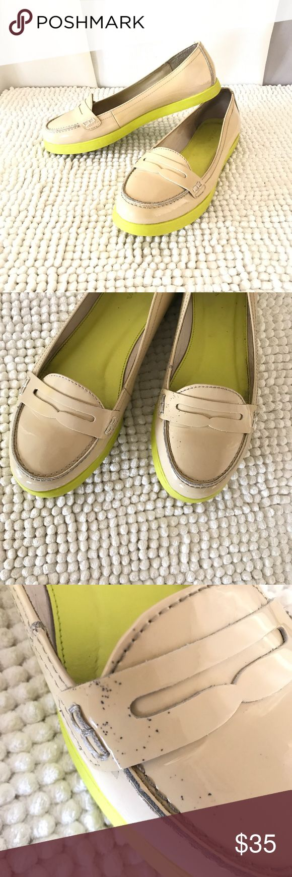 Boden nude cream neon yellow sole mocassins flats Super cute comfy shoes, classic with a neon twist! Nude top color and glossy finish. Overall good condition but one shoe has some tiny stains that are removable with the right product, size 39 9M Boden Shoes Flats & Loafers