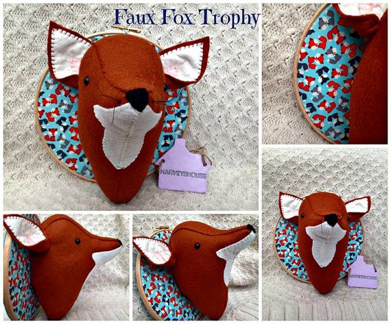 Faux Taxidermy Fox Head Trophy  Handmade by HarveyshouseCrafts