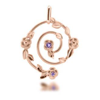 Pendentif femme, améthyste 0,02 ct, améthyste 0,03 ct, or rose, 1.91g, Style classique - Manège à Bijoux #LeManegeABijoux