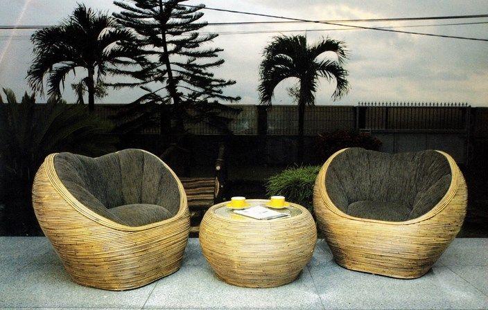 Model kursi teras set dari kayu rotan artistik