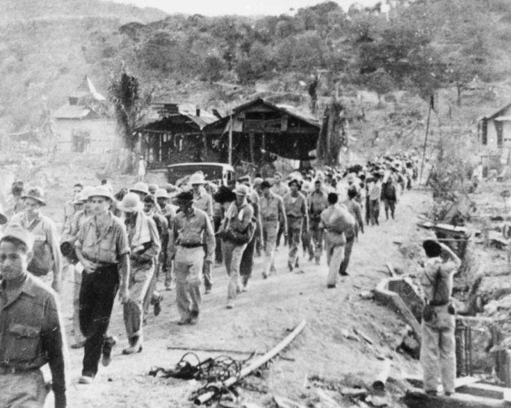 Prisoners of war on the Bataan Death March.