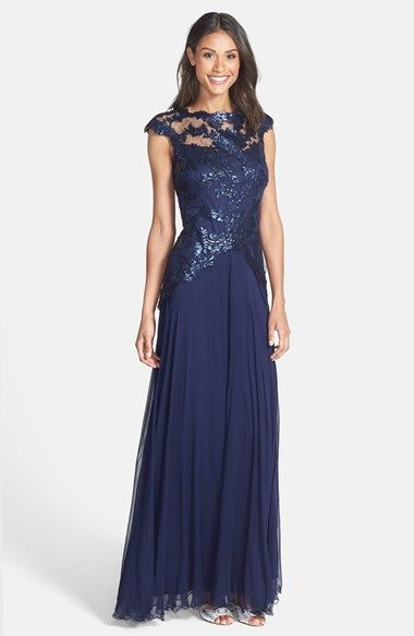 Tadashi Shoji Embroidered Bodice Tulle Gown available at #Nordstrom, $498