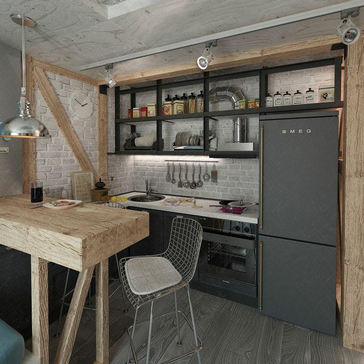 Кухонный гарнитур для маленькой кухни: 40+ фото эффективной организации пространства и секреты удачного выбора http://happymodern.ru/kuxonnyj-garnitur-dlya-malenkoj-kuxni-40-foto-sekrety-udachnogo-vybora/ Открытые полки вместо привычных верхних шкафов