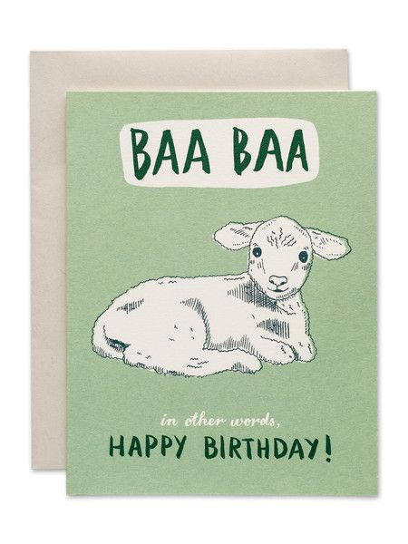 Baa Baa In Other Words Happy Birthday Card Www