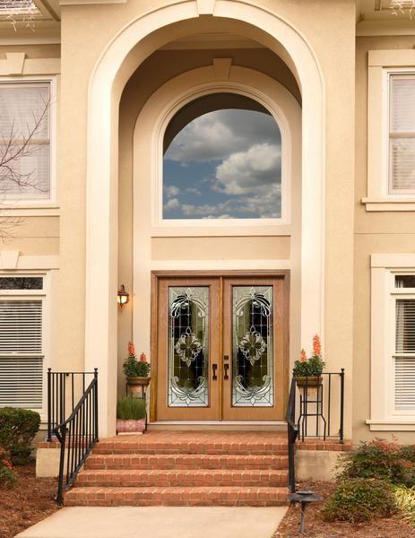 Jeld wen design pro glass panel double fiberglass doors for Jeld wen architectural fiberglass door