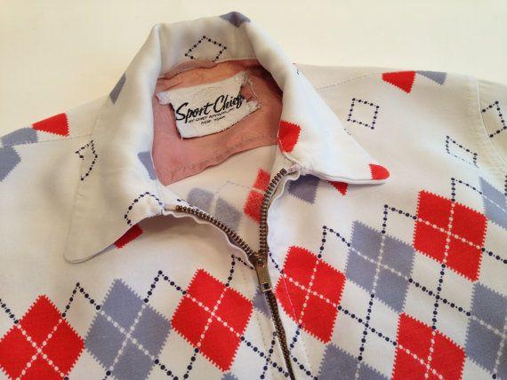 50's Men's SMALL Diamond Argyle Gabardine Jacket on White with Red,Gray & Black