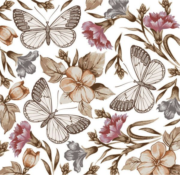 Elements of Butterfly & Flower vector 04 - Vector Animal free download