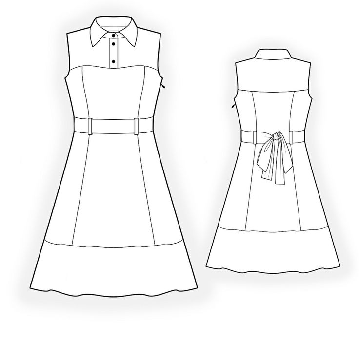 Dress  - Sewing Pattern #4357 Made-to-measure sewing pattern from Lekala with free online download. Princess seams, Yoke, Buttoned, Zipper closure, Belt, Jewel neck, Convertible collar, No sleeves, Knee length, A-line skirt, Panel skirt, No pockets