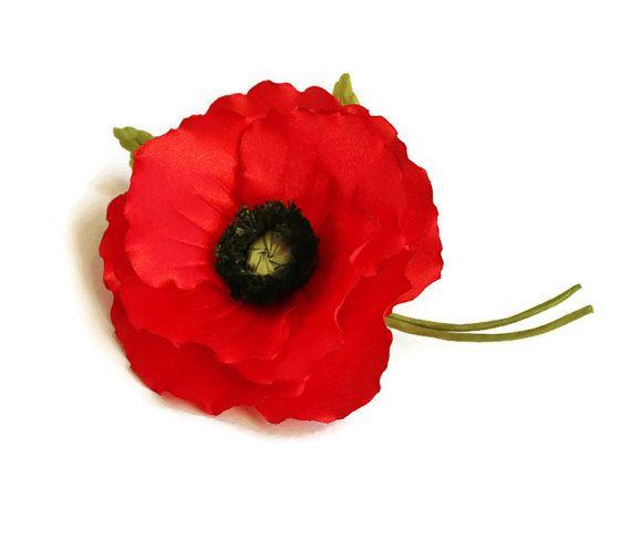 Poppy brooch, poppy corsage, poppy jewelry, veterans day, poppy pin