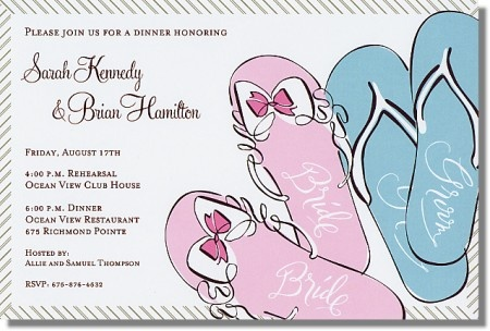 Forget the fancy shoes and tie the knot in flip flops. This invitation will definitely set the mood for your upcoming wedding getaway.