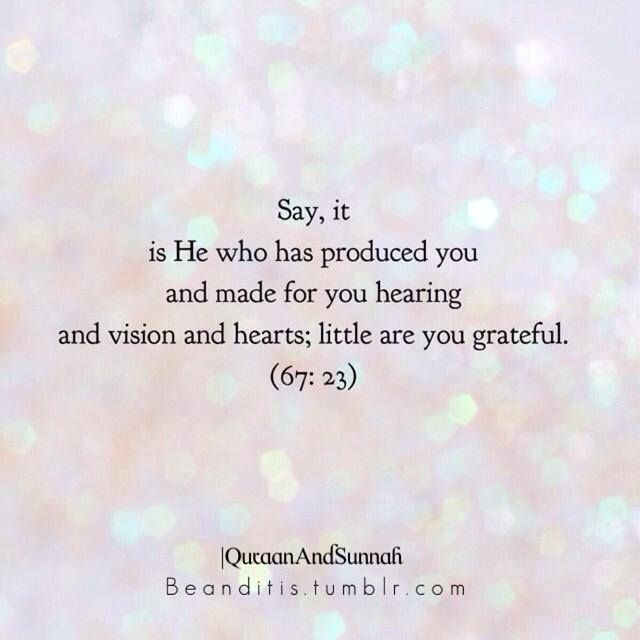 Qur'an al-Mulk (The Sovereignty) 67:23: Say it is He Who has created you, and endowed you with hearing (ears), seeing (eyes), and hearts. Little thanks you give.