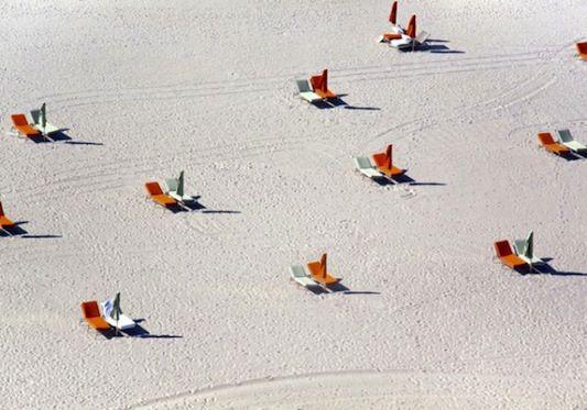 Miami Beach. Photo by Gray Malin: Beach Chairs, Miamibeach, Miami Beach, The Plage, Graymalin, Orange Chairs, Gray Malin, Manhattan Beach, Photography