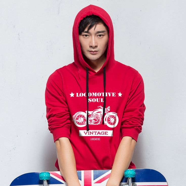 Langmeng 100% Cotton men Hoodies 10 colors casual loose men pullover hooded lover's sweatshirt for man women unisex look