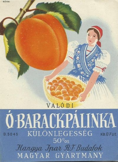 Vintage peach brandy label distillery hungary 1930s art deco