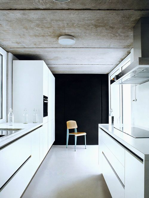 Cozinha com teto de concreto