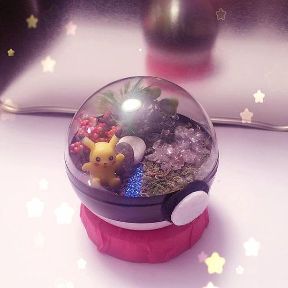 10cm Pokeball / Pokemon Terrarium hand crafted  The Pokemon Terrariums are made as display piece and are fragile. We wouldnt advise throwing or getting into battle with them. They are sealed and do not require any maintenance!  We are happy to create a Pokemon terrarium of your choosing! Each terrarium may look slightly different than the ones pictured as they are made to order. If ordered locally, shipping is free. Anywhere else in Canada or all over the world we will try to be fair wit...