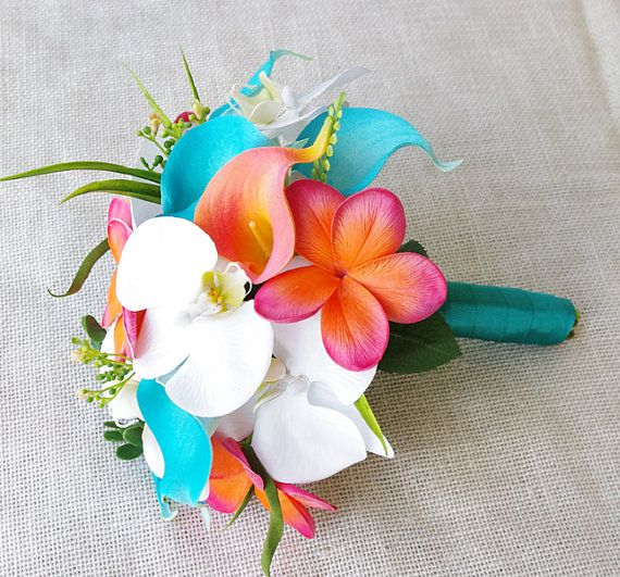 De Novia de orquídeas de tacto Natural Teal naranja Coral y turquesa, Callas y Plumerias seda flores ramo novia medio