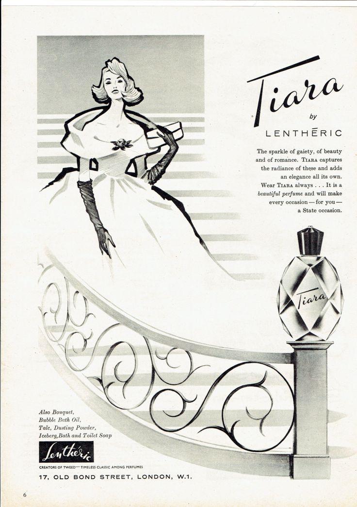 1950s Perfume Advert Lentheric Tiara Vintage Advertising Retro Cosmetics Unmounted wall art home decor by SandycroftVintage on Etsy