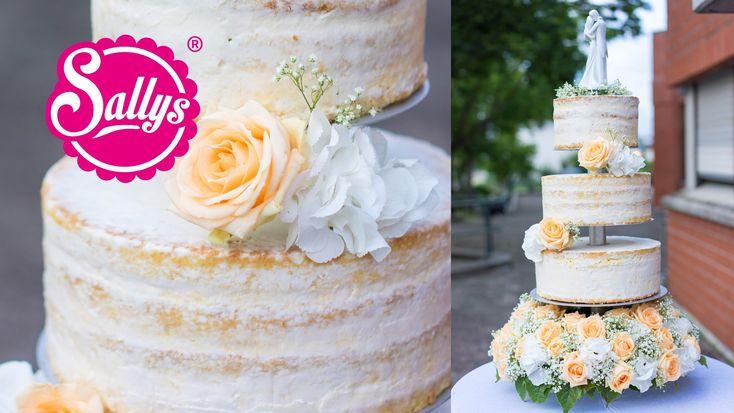 Hochzeitstorte dreistöckig. naked Cake. Eistorte mit Pfirsich-Mango-Parfait. Wedding Cake