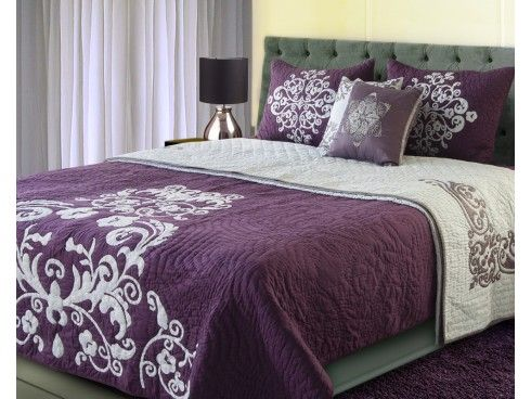 Crewel Embroidered Hand Quilted Violet / Grey Cotton Bedspread